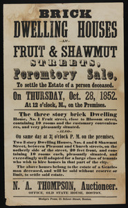 Broadside for brick dwelling houses in Fruit and Shawmut Streets