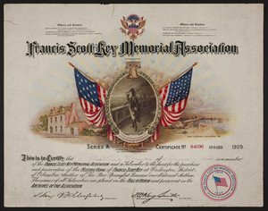 Francis Scott Key Memorial Association certificate