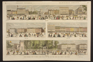 Grand Panoramic view of Tremont Street, Boston, East and West Sides, from Court Street to the Common