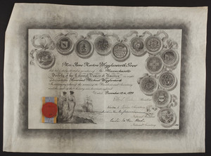 Massachusetts Society of the Colonial Dames of America certificate