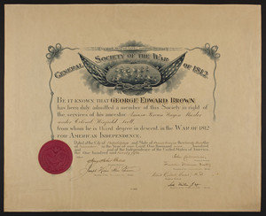 General Society of the War of 1812 certificate