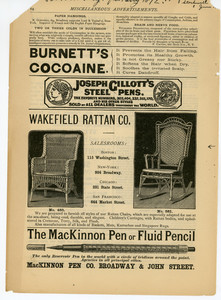Advertisement for rattan chairs, manufactured by Wakefield Rattan Company, Boston, Mass., 1872