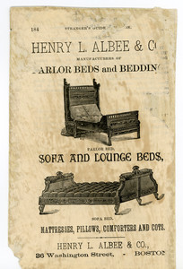 Advertisement for parlor and bedroom furniture, manufactured by Henry L. Albee & Company, Boston, Mass., undated