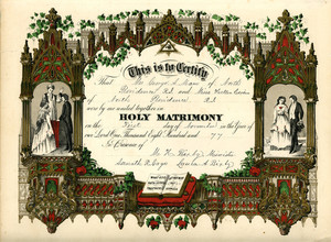 Marriage certificate for Mr. George A. Mann and Miss Helen Ewen, Providence, R.I., Nov. 1, 1877