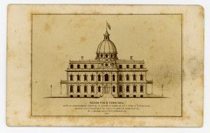 Trade card for the architect Luther Briggs, Jr., Dorchester, Mass., 1867