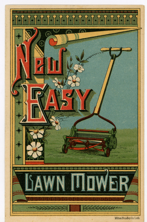 Trade card for the New Easy Lawn Mower, Blair Manufacturing Company, Springfield, Mass., undated