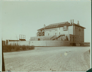 Exterior view of Fenway Court from dirt road, Boston, Mass., undated