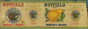 Packaging label for Nutfield brand Bartlett pears, produced for H.P. Hood & Sons, Boston, Mass., ca. 1909