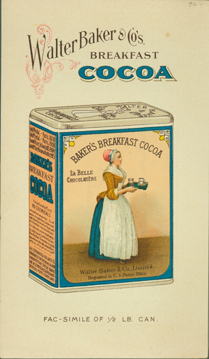 Trade card for cocoa, maufactured by Walter Baker & Company, Dorchester, Mass., undated