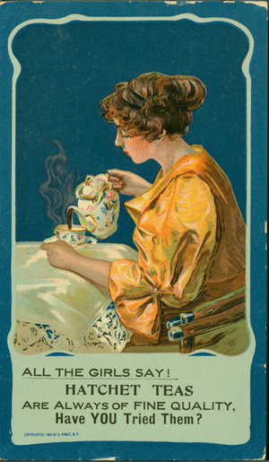 Trade card for Hatchet Teas, location unknown, undated