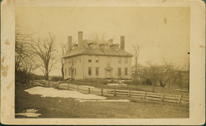 Exterior view of Hamilton House, as seen from across grounds, South Berwick, Maine, ca. 1885