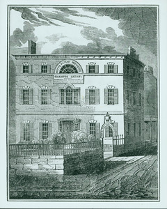 Woodcut of Harrison Gray Otis House, Boston, Mass. Copied from The Ladies Medical Oracle or Mrs. Mott's Advice to Young Females, Wives, and Mothers, Boston, 1834