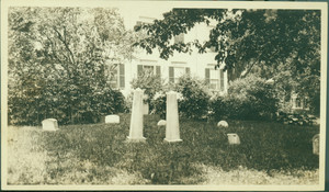 Canine cemetery on grounds with view of house, Rundlet-May House, Portsmouth, N.H., undated