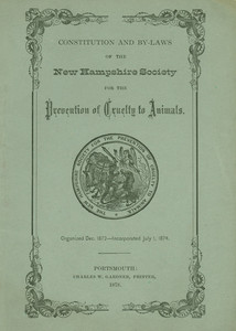 Cover of the New Hampshire Society for the Prevention of Cruelty to Animals Constitution and Bylaws.