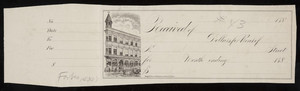 Check sample, exterior view of unidentified building, Fred. W. Barry, stationer and bookseller, Washington, corner of Elm Street, Boston, Mass., 1880s