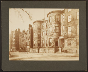 Exterior view of the Somerset Club with unidentified man, 42 Beacon Street