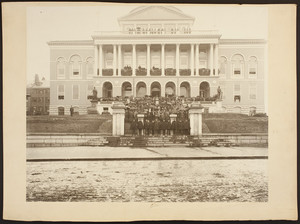 Group portrait of Massachusetts Governor Roger Wolcott, members of Wolcott's family and staff, and unidentified men and women in attendance at the State House's reception of the First Regiment as it travels to Fort Warren