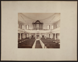 Interior view of West Church facing pipe organ, 131 Cambridge Street