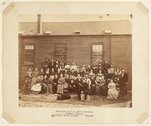 Group portrait of the employees of the W.K. Lewis Brothers Pickle Factory, Broad Street, seated outdoors