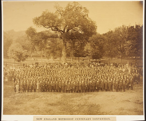 Group portrait, outdoors, of New England Methodist Centenary Convention attendees standing in the Boston Common