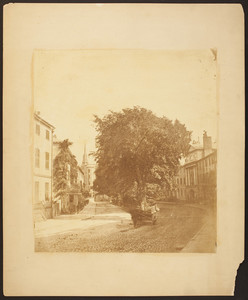 View of Franklin Street before the fire of 1872, Franklin Place and Tontine Crescent, Boston, Mass., 1856-1858