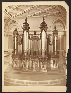 """Close-up view of the """"Great"""" pipe organ in Boston Music Hall"""