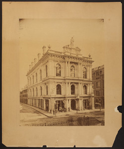 Exterior view of Horticultural Hall, corner of Tremont Street and Bromfield Street