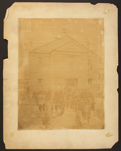 Group portrait of unidentified congregants standing in front of the Warren Street Chapel