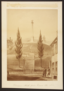 Photograph of a print depicting Beacon Hill from Dearn Street, 1812