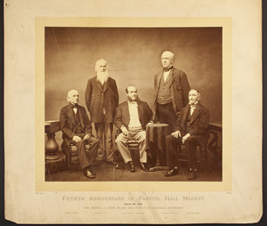 Group portrait taken to commemorate the fiftieth anniversary of Faneuil Hall Market