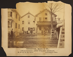 Exterior view of Thurston, Hall, & Co., manufacturers of crackers and pilot bread, 46, 48 and 50 Elm Street, Cambridgeport, Mass., ca. 1871
