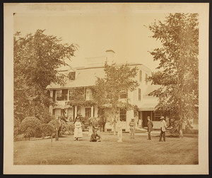 """Brookbank"" lawn with croquet players"