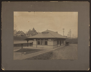 Exterior view of a Boston and Albany Railroad station, undated