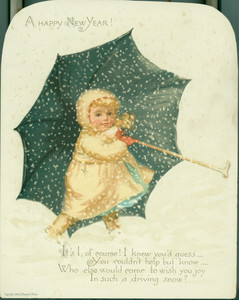 New Year's card, depicting a young girl holding an umbrella in a snowstorm, 1888