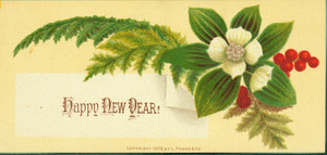 New Year's card, depicting white Christmas roses and holly, 1876