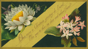 Christmas card, with flowers, 1880