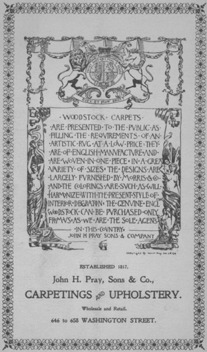 Advertisement for carpeting and upholstery, John H. Pray, Sons & Co., 646-658 Washington St., Boston, Mass., undated