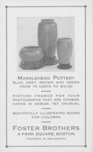Trade card for Foster Brothers, Marblehead Pottery, frames and children's books, 4 Park Square, Boston, Mass., undated