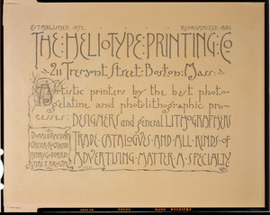 Advertisement for The Heliotype Printing Co., 211 Tremont Street, Boston, Mass., 1886
