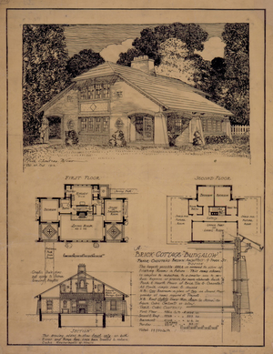 Presentation drawing of an unidentified brick cottage bungalow, designed by Frank Chouteau Brown, location unknown, 1912