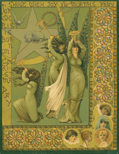 Christmas card, depicting angels sounding trumpets and the lamb of Christ in the center of a star, undated