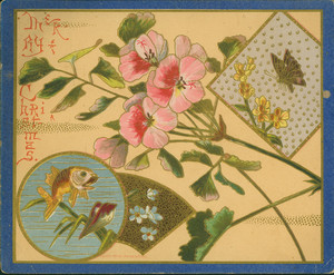 Christmas card, featuring flowers and insets of a butterfly and fish, 1880
