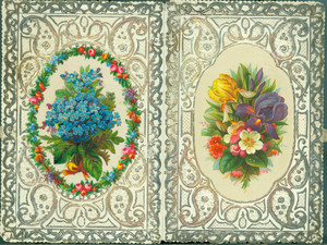 Christmas card, featuring string ties and floral designs, undated