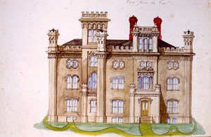 Front elevation of an unidentified house designed by Joseph Hayward, ca. 1850