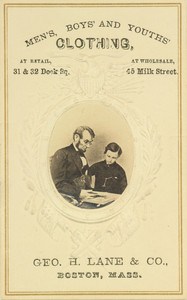 Trade card for Geo. H. Lane and Co., Men, Boys' and Youths' Clothing, featuring Abraham Lincoln and his son, Tad