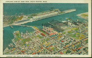Airplane view of army base, South Boston, Mass.
