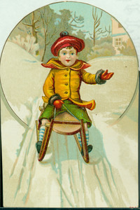 Trade card for Novelty Plaster Works, Lowell, Mass., depicting boys sledding