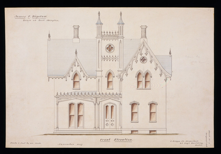 Front elevation of the James F. Bigelow House, Rockland, Mass., 1857