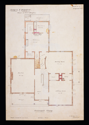 First floor plan of the James F. Bigelow House, Rockland, Mass., 1857