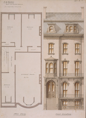 Attic floor plan and front elevation of the P.D. Wallis House, Chester Square, Boston, Mass., 1858